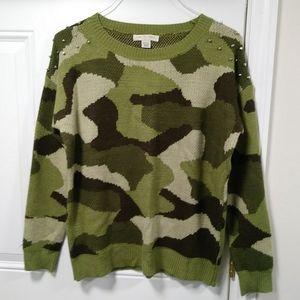 Love by Design Camo Sweater Studded Sleeves M